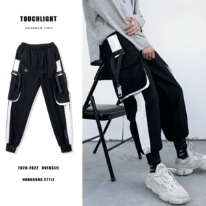 Summer Cargo Pants Mens Ribbon Beam Feet Korean Version Fashion Loose Street Hip-hop Harem Pants Bib Overall Joggers Sweatpants