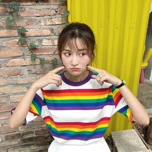 Streetwear Rainbow Color Stripes Striped Women T Shirt Casual Summer Half Sleeve Loose Rainbow Striped T Shirt Tee Tops
