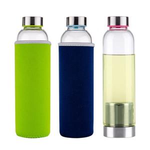 Alta Borosilicate tiro Garrafa de vidro do copo de chá Septo Caneca Sports Duplas copos de água Moda Creat Cloth Tampa Cor Hot Sale 10 3Ws B2