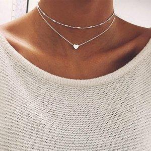 1set Kadınlar Altın Gümüş Kaplama Kalp Önlüğü Bildirimi Sadelik gerdanlık Zincir Kolye Kolye Takı
