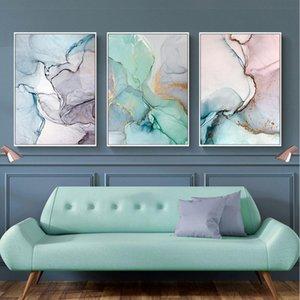 Geométrica ágata mármol óleo abstracta moderna de la lona de pintura Poster nórdicos y cuadros de la pared de cuadros para la sala de estar Decoración