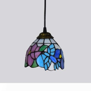 Tiffany Estilo luzes de teto Pendant Fixação Blue Butterfly Vitral Sombra Cafe loja Escadas Varanda suspensão da flor Lâmpada
