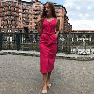 Vestidos Verano 2020 Women Solid Sleeveless Vestidos V Neck Button Holiday Beach Dress Party With Belt Clothes Dresses New