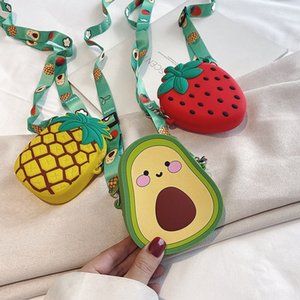 Onzji Korean style all-match fruit messenger bag female children cartoon silicone single shoulder parent-child cute chain mobile Silicone mo