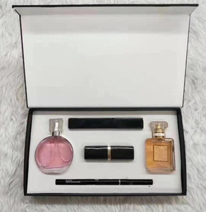 maquillaje de la marca conjunto de barras de labios 15ml de perfume delineador rimel 5 en 1 con la caja de los labios cosméticos kit de envío de la gota regalos mujeres