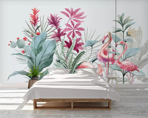 beibehang Custom wallpaper Nordic flamingo banana leaf background wall 3d wallpaper living room bedroom decoration mural photos