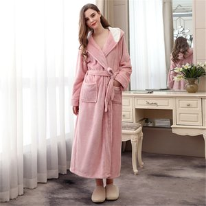 Winter nightgown new hooded flannel robe female winter lengthening XL bathrobe nightwear maternity clothing explosion pajamas