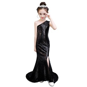 HT70614 One Shoulder Sequined One Shoulder Flower Girl Dresses Mermaid First Communion Dresses For Girls 2020 New