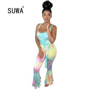2020 new arrival tie dye print summer spandex jumpsuit women sleeveless high waist harem pants party club sexy romper