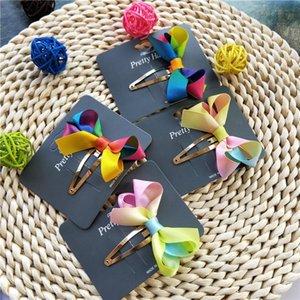 Cute Rainbow Ribbon Hair Bows Little Girls Side Hair Clips BB Snap Hairpins Hairgrips School Kids Headwear Accessories