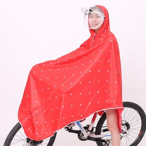 jeqTn Printed Oxford electric bicycle double brim bicycle poncho cycling men's and women's electric vehicle single thickened waterproof stud