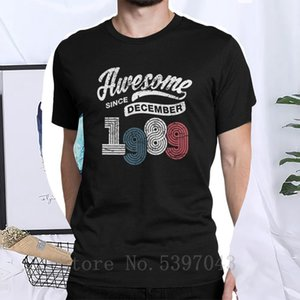 Awesome Since December 1989 Shirt Vintage 29th Birthday T-Shirt Man's T Shirts 2019 Cotton Pure Short sleeved Fashion Tees Tops