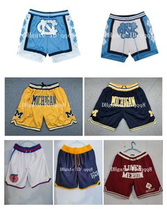 UNC Мичиган баскетбол шорты North Carolina Tar Heels Baseball Нижняя Мерион pantaloncini да корзины Tune Отряд корзины колледж кармана брюк