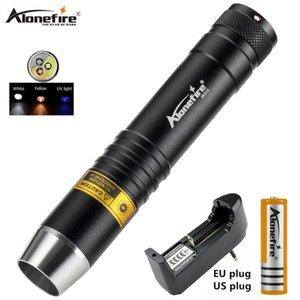 AloneFire SV370 UV 365nm UV Weiß Gelb 3 LED-Lichtquelle Taschenlampe Lampe für Jade Schmuck Identification Y200727