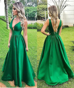 Sexy V-neck Backless Evening Dresses Simple Satin A Line Floor Length Formal Prom Dress Arabic Party Gowns Vestidos De Fiest
