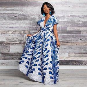 Designer Damen Kleider Sommer V-Ausschnitt Split Sexy African Damen Kleider beiläufige bunte Kleider mit hohen Taille Feder