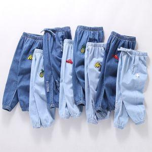 U3j8T Herbst-Kinder Denim dünne Freizeitkleidung Mädchen des Babys trägt Moskitobeweis Laterne Anti-Moskito-Anti-Moskito-Hosen der Laterne