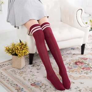 Students over-Knee knitted linen pattern vertical bar two-bar stacked stockings high stockings