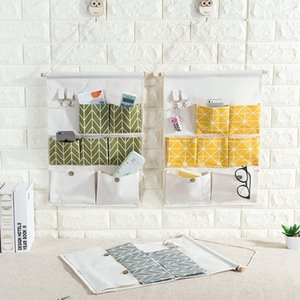Bathroom wall-hanging multi-layer wall-hanging 7- waterproof cotton linen Art bag Cotton linen storage bag door rear-hanging storage