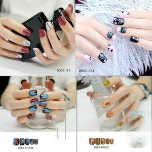 24 sheet set Fake False Finger Nails Gummed Fashion Rhinestone Art Design Colorful Wearable Manicure JM-A003-0053