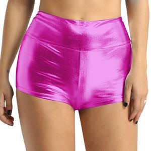 Kadın Pole Dance Şort Rave Giyim Parlak Yüksek belli Pole Dance Jimnastik Egzersiz Rave Giyim Şort Bottoms için spor