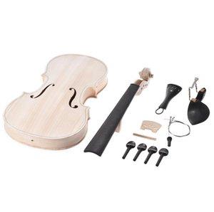 DIY 4/4 Tam Boy EQ Ladin Üst Akçaağaç Arka Boyun Fingerboard Tailpiece ile Yeni Keman Seti Doğal Katı Ahşap Akustik Fiddle