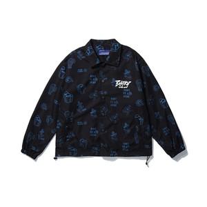 Hip Hop otoño chaqueta completa Digital Hombres y mujeres solapa de gran tamaño rompevientos chaqueta de bombardero de Calle floja Coats