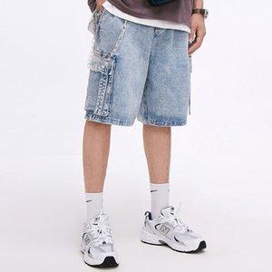 Vintage Solid Denim Shorts Mens 2020SS Summer Streetwear Patchwork Pockets Shorts Casual Joggers Loose Knee Length Short Pants