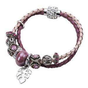 exaggerated alloy bracelet Diamond leaf leather rope female multi-layer weaving