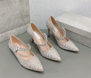 Jimmy Choo High Quality Lady Pointed Rhinestone Pearl Rivets Sexy High Heels Sandals 2020 Spring New Princess Wedding shoes Women Fashion Dress Shoes
