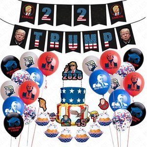 24pcs pack Donald Trump 2020 Flag Latex Confetti Balloons Set Trumpet Birthday Pull Flag Sting Cake Card US President Vote Accessries D72202