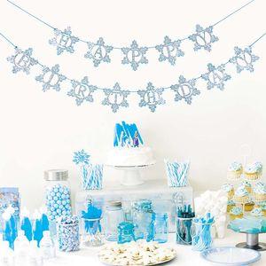 Silver Blue Glitter Joyeux anniversaire Bannière glace et de neige Garland hiver flocon de neige de vacances Décoration murale Frozen fille décor