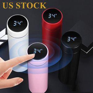 DHL 배송 증권 스마트 머그컵 온도 표시 진공 스테인레스 스틸 물병 LED 온도 표시 화면 열 컵 FY4122
