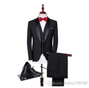 Shenrun Men Tuxedo Slim Fit Fashion Suit Wedding Shawl Lapel 3 Pieces Skinny Single Breasted Jacket Party Prom Singer Costume