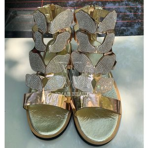 Mujer Sandalias Zapatos Negro Oro Plata 2020 Summer plana talón Zip PU ocasional hermosa playa femenino señoras de los fracasos Calzado mujeres