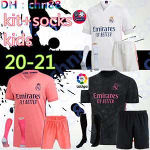 Torwart KIDS 20 21 Real Madrid Fußball Jerseys 2020 2021 GEFAHR BENZEMA MODRIC isco ASENSIO camiseta de futbol Fußballhemden kit + Socken
