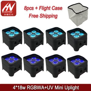 8pcs battery operated led uplights & IR control mini led par rgbwa uv 4X18w wireless dmx led lights wedding dj uplighting with rain cover