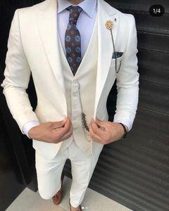 Ivory Tuxedos Мужские костюмы Формальные Бизнес Мужские свадебные костюмы Новое прибытие смокинг костюмы De Pour Hommes (куртка + штаны + Tie + Vest)