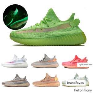 des chaussures Lundmark Pink GID Glow In The Dark Black Static Clay Running Shoes Womens Trainers Kanye West 350 V2 Sneakers