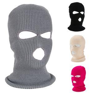 2 furos 3 furos Facial Máscara protectora da Malha chapelaria à prova de vento completa cobertura de inverno Aqueça Máscara Cap Partido Guerreiro Ski Hat Exército IIA375