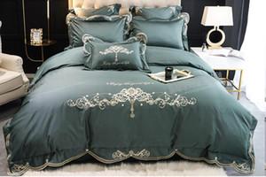2020 Super Luxury European 8pcs Embroidery Long-staple Bedding set Satin Jacquard King Queen Size Duvet Cover bed skirt pillowcases Design