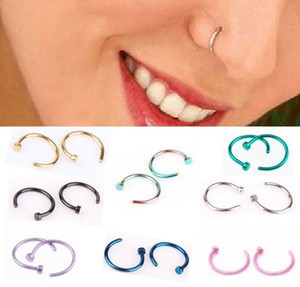 Rings Body Piercing Jewelry Fashion Jewelry Stainless Steel Nose Open Hoop Ring Earring Studs Fake Nose Rings Non Piercing Rings ps0680