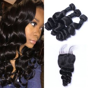 Brazilian Loose Wave Virgin Hair 3 Bundles with Closure 100% Unprocessed Human Hair Weave with Closure 8-26 inch