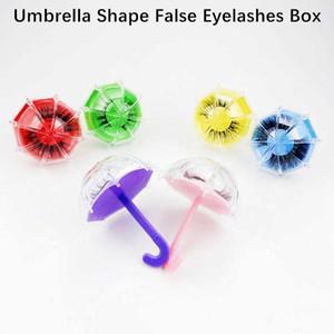 6 Color Nuevo Paraguas Forma Vacío Fake Eyelash Embalaje Funda Mini Eyelash Almacenamiento Caja de plástico Color Color Color Pajas Contenedor de almacenamiento