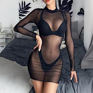 Mujeres Sexy Ver a través de trajes de baño Mangas largas Mangash Sheer Bikini Cover Up Playa Vestido Verano Clubwear Partido Traje de baño