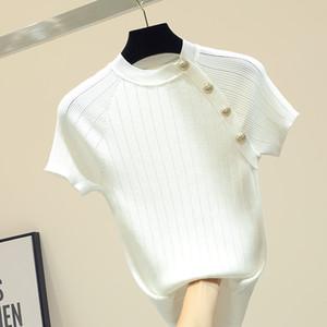shintimes Thin Вязаная белая футболка Кнопка с коротким рукавом футболки Женщины 2020 лето Твердая Повседневный T-Shirt Женский Tee Shirt Femme CX200713