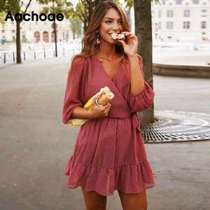 Aachoae 2020 Лето Женщины оборками кружева шифон платье Boho Мини пляж платье Три четверти рукава Дамы Бальные платья Платье