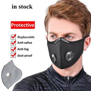 US Lager! Netzstaubgasgesichtsmaske mit Filter, Radfahren Maske im Freien Smog Schutz für Männer und Frauen einstellbare Beatmungsmaske FY9060