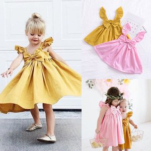 Pudcoco Newborn Kids Baby Girl Ruffle Bow Dress New Princess Girl Summer Dress Solid Toddler Baby Flying Sunsuit Outfits