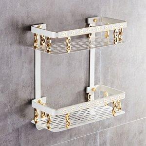 Bathroom Shelf Space Aluminum White & Gold Shower Shampoo Soap Cosmetic Shelf Bathroom Accessories Storage Organizer Rack Holder Jc4u#